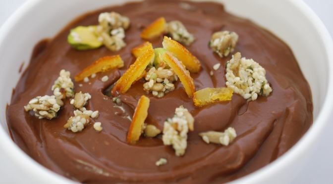 Chocolate Avocado Pudding with Super Seed Sprinkle and Candied Orange Crisps