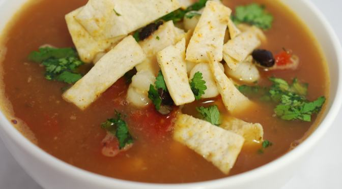 Chicken Poblano Soup with Spicy Baked Tortilla Strips